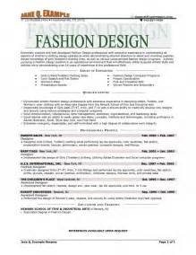Fashion Design Resume Exles by Fashion Designer Resume