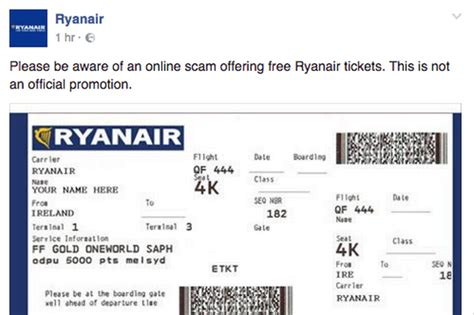 Porter Airlines Gift Cards - ryanair warns of facebook scam of fake offer for free
