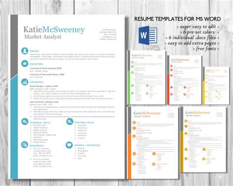 Simple Easy Edit 2 In 1 Word Resume Resume Templates On Creative Market Edit Resume Template Word