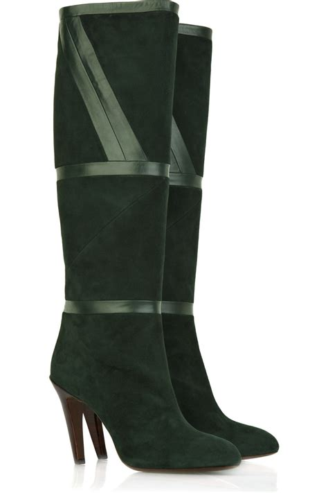 suede high boots emilio pucci suede knee high boots in green lyst