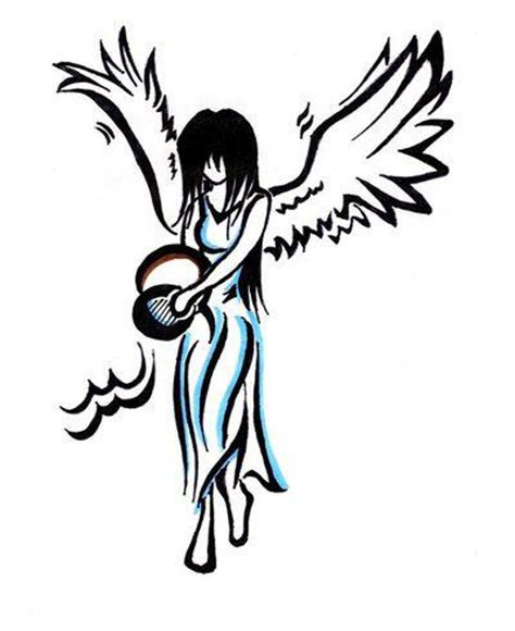 aquarius angel tattoo design tattoos gt zodiac tattoos