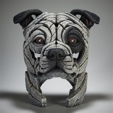 edge sculpture staffordshire bull terrier white patch
