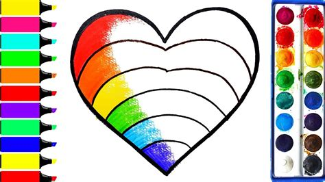 rainbow hearts coloring pages rainbow heart coloring pages learn drawing art colors