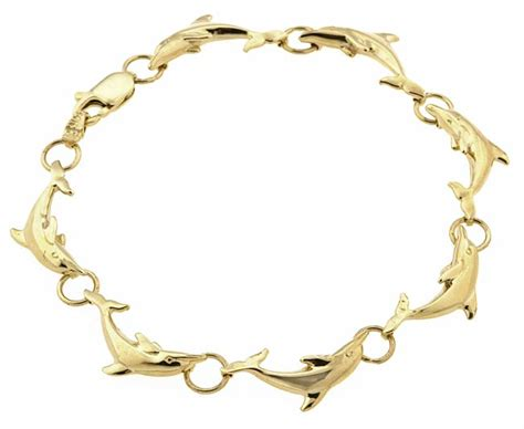 worldstock jewelry 14k yellow gold 7 25 inch dolphin bracelet overstock