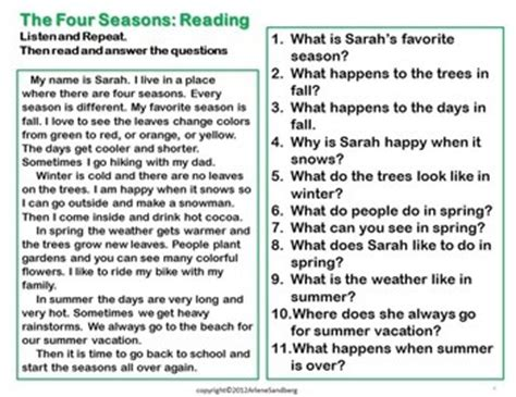 Essay 4 Seasons by Esl Reading And Writing Lesson The Four Seasons By Lmn Tree Tpt