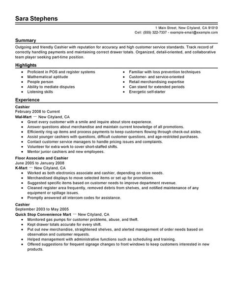 Resume Templates For Cashier Unforgettable Part Time Cashiers Resume Exles To Stand Out Myperfectresume