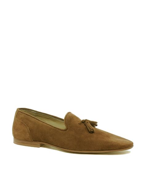 tassel suede loafers asos tassel loafers in suede in brown for tansuede
