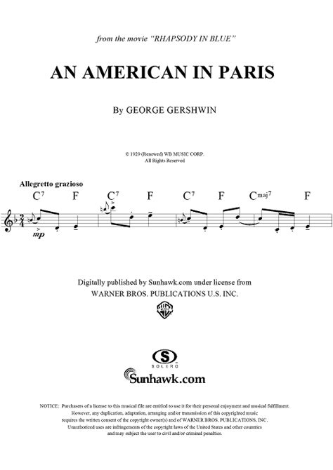 An American Theme Song An American In Blues Theme Sheet For Piano And More Onlinesheetmusic
