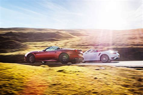porsche california porsche 911 turbo s cabrio vs ferrari california t twin