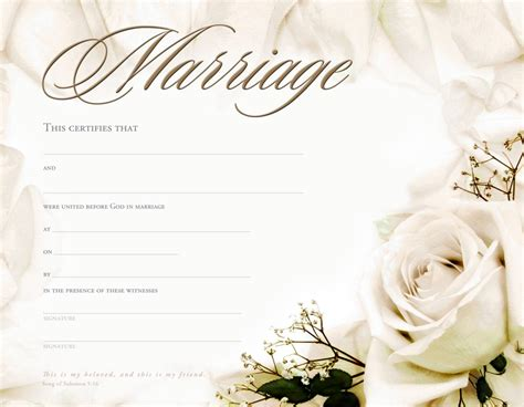 marriage certificate template formats exles in word