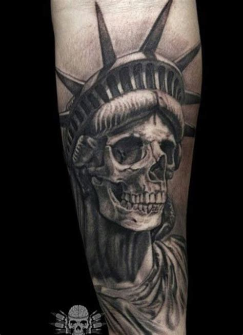 liberty or death tattoo liberty statue skull skulls