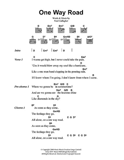 road song list one way road sheet by oasis lyrics chords 41690