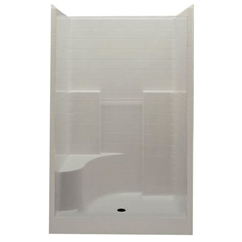 One Shower Stall With Seat by Aquatic Everyday 60 In X 35 In X 76 In Center Drain