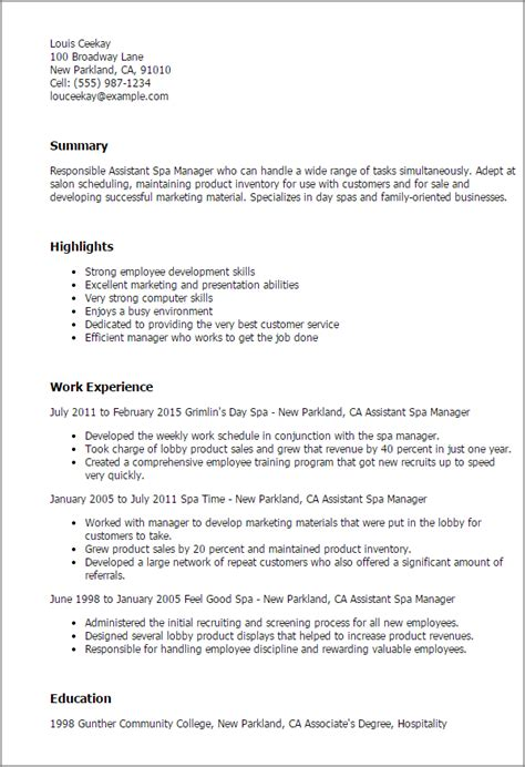 Salon Assistant Description Resume professional assistant spa manager templates to showcase
