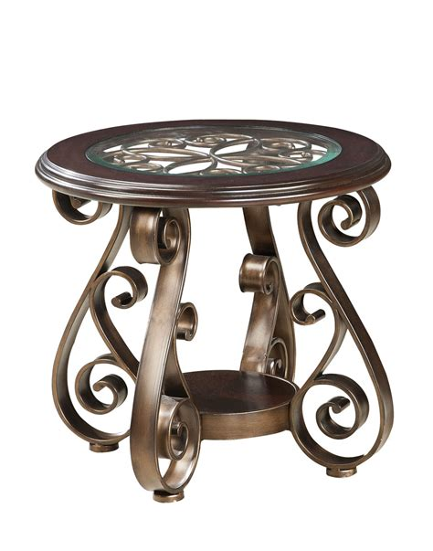 round glass top accent table standard furniture bombay round glass top end table in