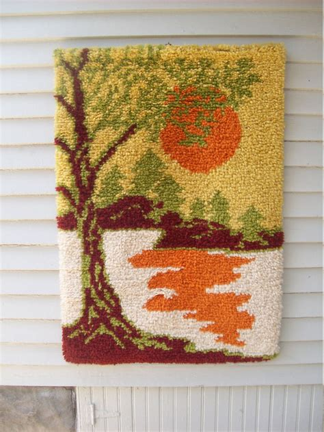 latch rugs mod landscape sunset latch hook rug