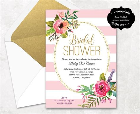 editable bridal shower invitation templates blush pink floral bridal shower invitation template