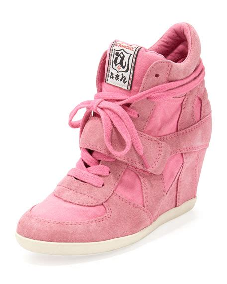 pink wedge sneakers ash bowie suede and canvas wedge sneaker shocking pink