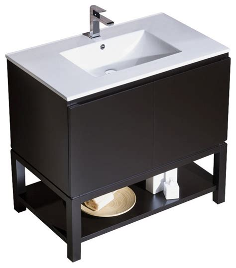 Metal Sink Vanity by Vanity Emmet 37 With Integrated White Porcelain Metal