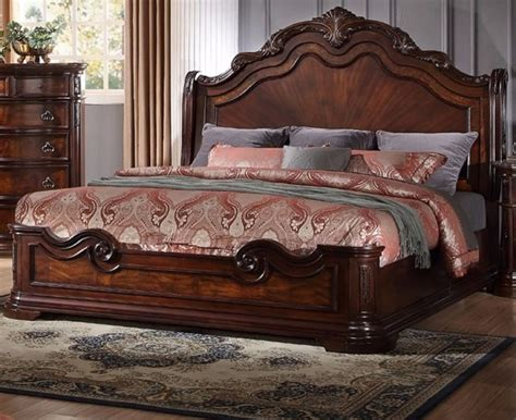 new formal est king size bed set 1pc traditional walnut wood bedroom furniture ebay