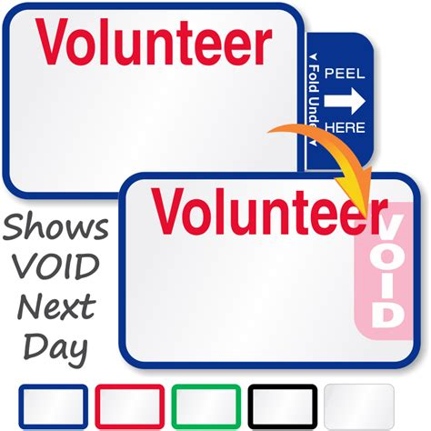 Volunteer Small Visitor Passes Book Tab Expiring Labels Sku Ez Tb 812 Vol Volunteer Badge Template
