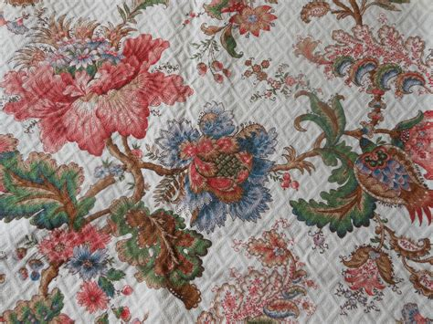 vintage floral upholstery fabric vintage french jacobean indienne floral quilted panel