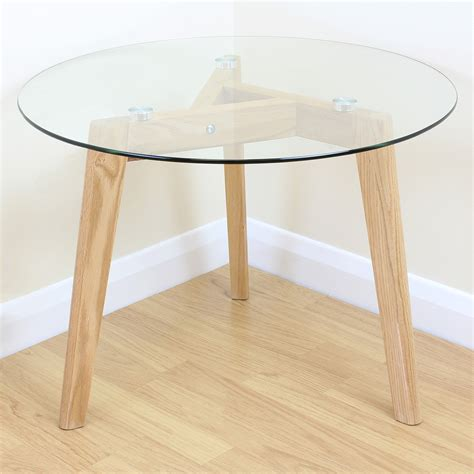 solid oak end solid oak clear glass modern round side end table coffee