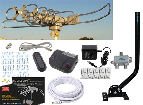 lava hd  hdtv digital rotor outdoor tv antenna cable install kit   pole