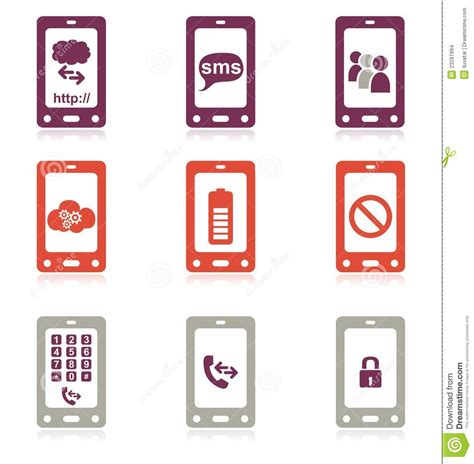 mobile phone set mobile phone icon set stock images image 23291994
