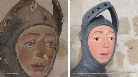 Painting Restoration by Botched 16th Century Sculpture Restoration In Spain