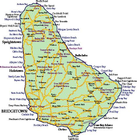 printable barbados road map barbados road map island of barbados map