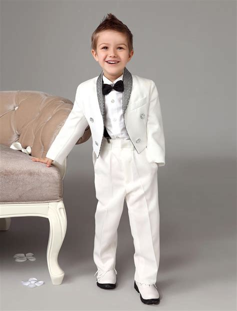 2017 Four Pieces Luxurious White Ring Bearer Suits Swallow