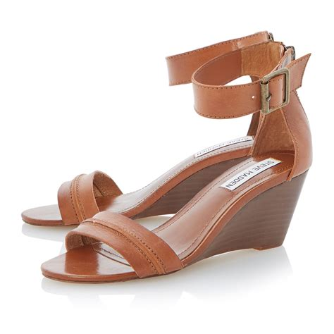 brown sandal wedges steve madden neliee buckle ankle wedge sandals in