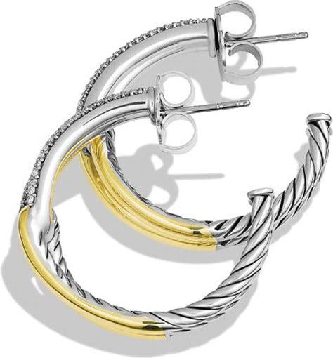 Allen Dons Gold Ribbed Hoop Earrings A La Hilary Duff by David Yurman Labyrinth Hoop Earrings With Diamonds Gold