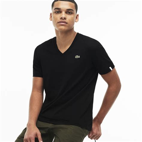 Black Unisex unisex black lacoste live v neck cotton jersey t shirt th1510 00 lacoste shirts uk
