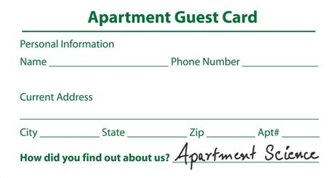 guest card apartments template make sure you write apartment science on the guest card or