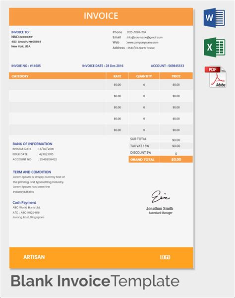 Editable Invoice Template by Blank Invoice Template 50 Documents In Word Excel Pdf
