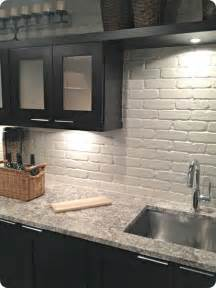 Faux Brick Backsplash In Kitchen Painted Brick Backsplash Possible Faux Brick Panels Painted White For The Home