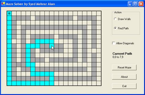coding shortest route maze solver shortest path finder codeproject