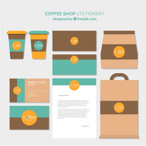 coffee shop flat design coffee shop stationery in flat design vector free download