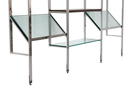 milo baughman chrome and glass wall mounted shelving
