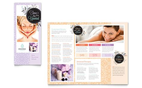 Massage Brochure Template Word Publisher Free Skin Care Brochure Templates