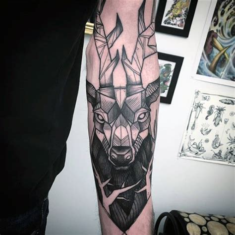 black and grey deer tattoo 60 deer tattoos ideas and meanings