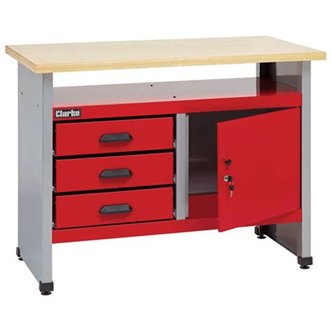 work benches with drawers clarke cwb114 workbench with 3 drawers and lockable
