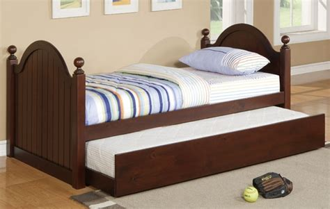 bed with trundle cherry bed frames poundex