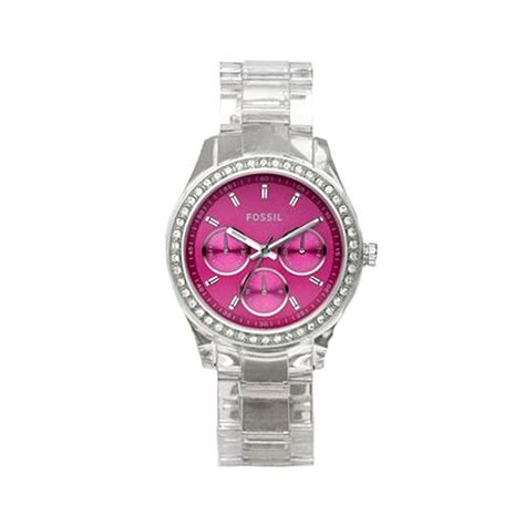 Fossil Pink fossil es2604 bracelet pink glitz analog multifunction