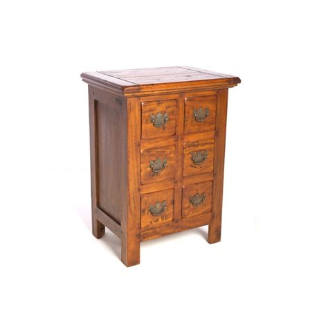 mango wood 6 drawer small chest of drawers with a rustic