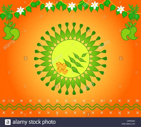 south indian new year festival ugadi design with fresh