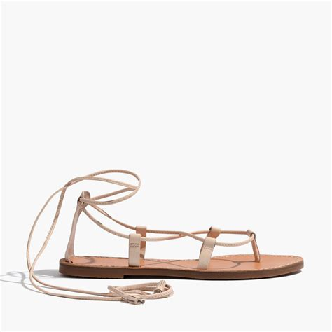lace up sandal lyst madewell the boardwalk lace up sandal in pink