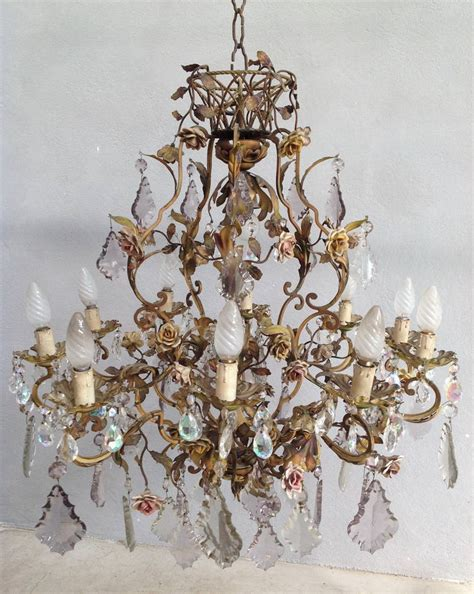 Flower Chandelier Brass And Porcelain Flower Chandelier For Sale At 1stdibs